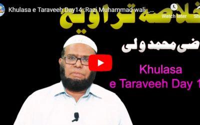 Khulasa e Taraveeh Day 14 :: Razi Muhammad wali